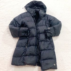 Mountain hardware down filled long parka jacket m